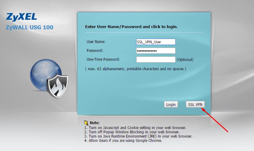 SSL VPN USER LOGIN